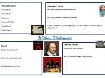 Shakespeare fact file - using the iPads/computers for research and essay skills.