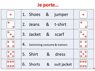 French - Clothes dice plenary/starter