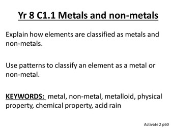 Yr 8 Activate Chemistry Objective and Keywords