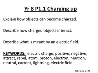 Yr 8 Activate Physics Objectives and Keywords
