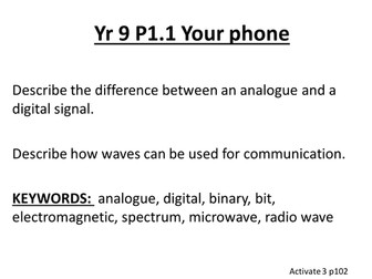Yr 9 Activate Physics Objectives and Keywords