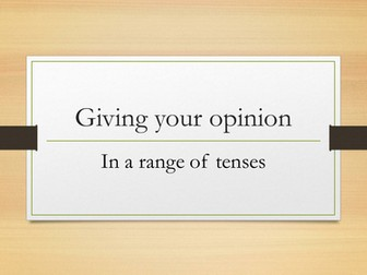 Giving your opinion in a range of tenses (German GCSE 1-9)