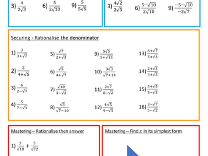 Rationalising The Denominator Surds Worksheet With Answers