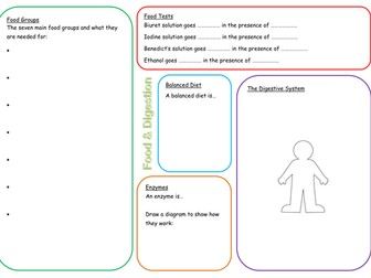 KS3 Food and Digestion Revision Mat
