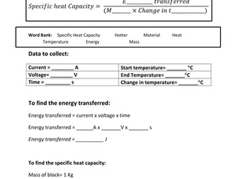 Specific Heat Capacity worksheet