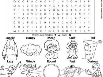 Parts of Speech: Verbs, Nouns and Adjectives Word Search