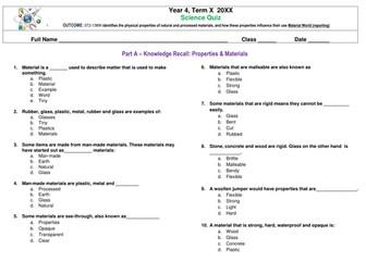 Science Quiz: Materials and Properties