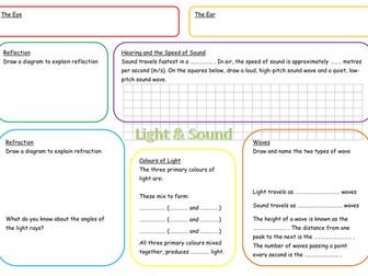 KS3 Light and Sound Revision Mat