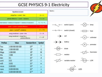 Gcse Physics 9-1 Electricity revision booklet