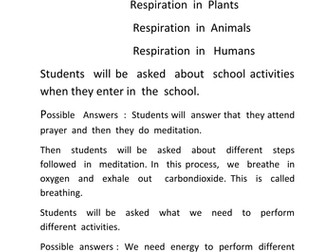 Lesson plan- Respiration in organisms