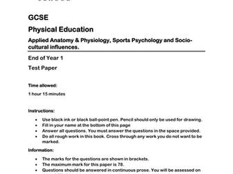 GCSE PE - Practice Test Paper - anatomy & physiology, sports