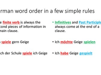 A simple colour coded guide to German word order