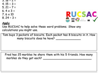 Year 2 multiplication and division practise with word problems