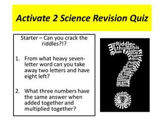 Activate 2 Science Revision Quiz
