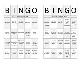 Ice Breaker Bingo - Team Building Activity - New Class