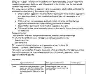 OCR Psychology Developmental Study Notes