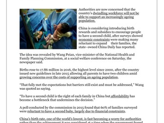 Worksheet and Newspaper Article. China, One Child Policy, Population.