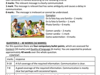 New Spanish GCSE overview, mark schemes and feedback sheets (speaking and writing exams) - UPDATED