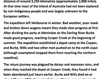 Burke and Wills expedition Handout