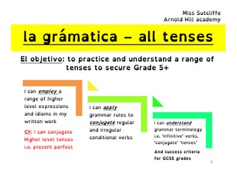 Spanish NEW GCSE GRAMMAR - tenses workbook with answer book