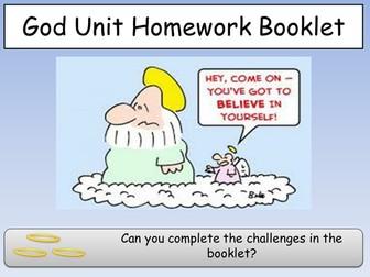 Belief  in God take away menu homework