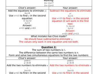 Clumsy Clive On Simultaneous Equations