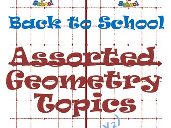 Back to School Geometry Worksheets and Activity