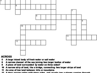 Types of Landforms and Bodies of Water Crossword Puzzle