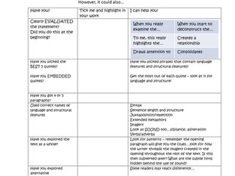 Self assessment grid for question 4 (evaluation) Paper 1 Language