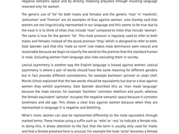 Language And Gender Essay AQA English Language A Level