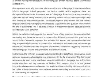 Macbeth Essay Outline Language And Gender Example Student Essay A Grade  A Level English  Language Aqa Act Sample Essays also Short Essay Globalization A Level English Language Example Student A Grade Essays For  Essay Examples High School