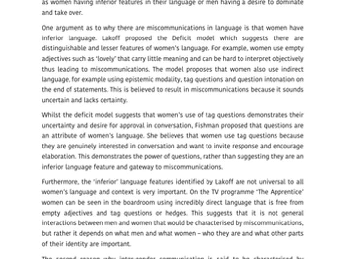 Language And Gender Example Student Essay (A Grade) | A Level English  Language AQA