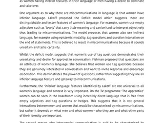 language and gender example student essay a grade  a level  language and gender example student essay a grade  a level english  language aqa by astarlevels  teaching resources  tes