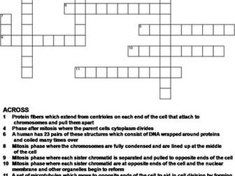 Mitosis Crossword Puzzle
