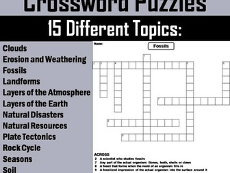 Earth Science Crossword Puzzles Bundle