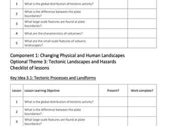 Theme 3: Tectonic Landscapes and Hazards Key Idea 3.1 (Eduqas WJEC 9-1)