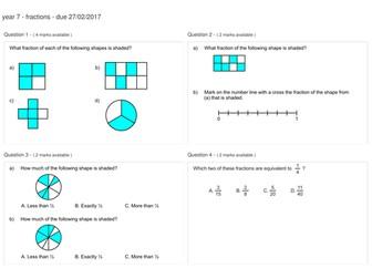 year 7 fractions homework