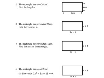 Area perimeter and volume worksheet tes
