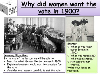 Suffragettes and Suffragists Resources/SOW