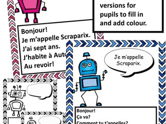 French Greetings Robots Video and Writing task