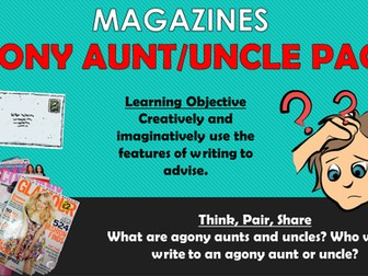 Magazines - Writing Agony Aunt/Uncle Pages!