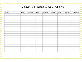 Homework tick chart.