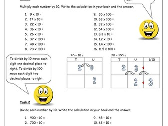 Multiply and divide by 10 and 100 homework.