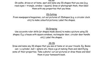 2D and 3D shape homework.
