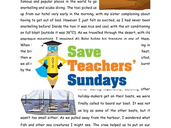 Year 2/3 Recount Comprehension / Guided Reading (3 levels of difficulty) - Holiday Recount