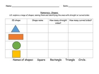 Numeracy- 2D and 3D basic shape properties