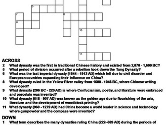 Ancient Chinese Dynasties Crossword Puzzle