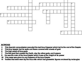 Inca Empire Crossword Puzzle