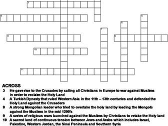 The Crusades Crossword Puzzle