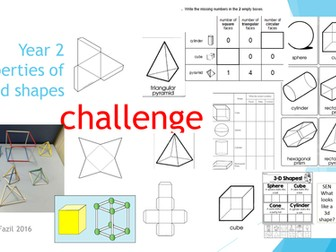 Properties of 3d shapes Year 1 and 2